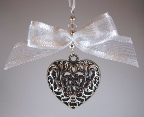 Silver Tone Tibetan Heart, White Bow & Crystal - Xmas Tree Decoration